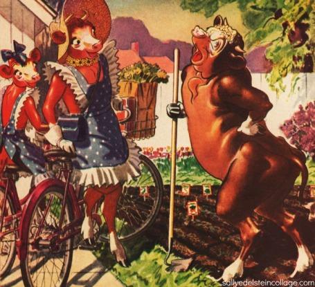vintage illustration 1940s Elsie Cow Victory garden