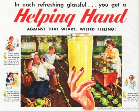 Vintage ad illustration family gardening ww2