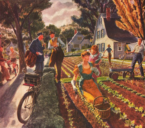 Vintage illustration victory garden at home ww2