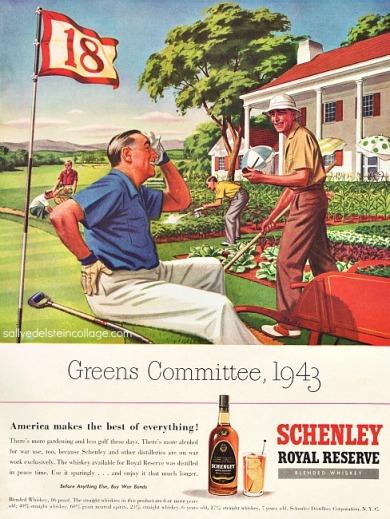 vintage art & advertising ww2 men golfing