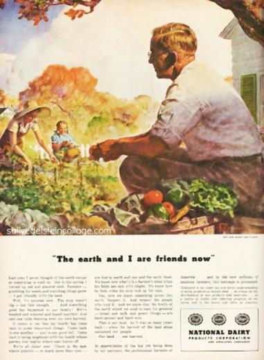 vintage illustration 1940s family gardening