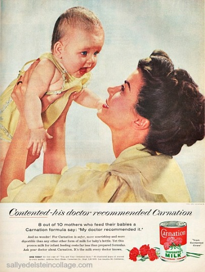 retro picture mother and baby 1950s