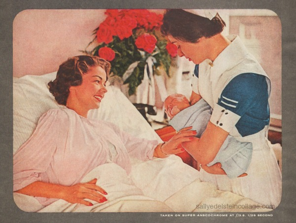 retro picture mother newborn baby and nurse in hospital