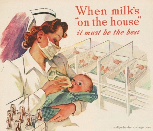 retro illustration baby nurse in hospital feeding baby