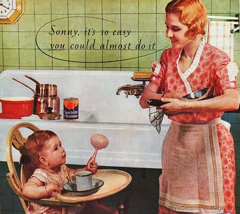 1930s kitchen mother and baby