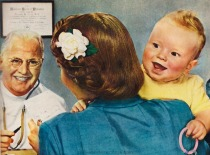vintage illustration doctor, baby mother 1948