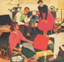 vintage beer ad illustration suburbia 1950s