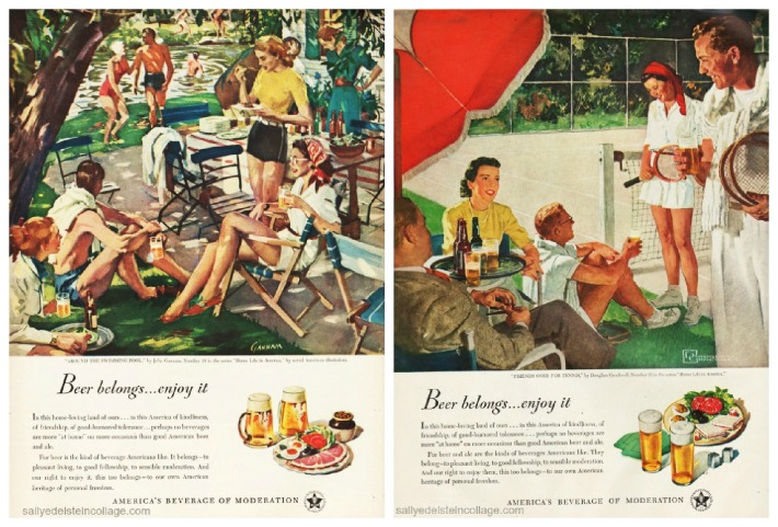 vintage illustrations suburban pools and tennis 1940s retro beer ads