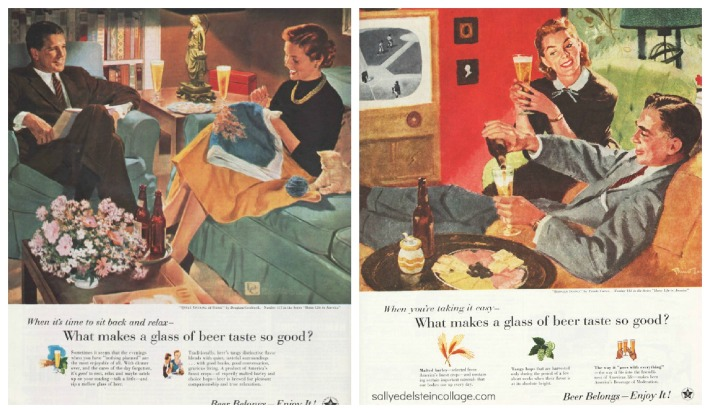 vintage beer advertising vintage illustration 1950s couples at home