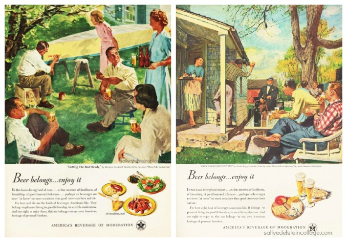 vintage beer ads illustration suburbia1950s