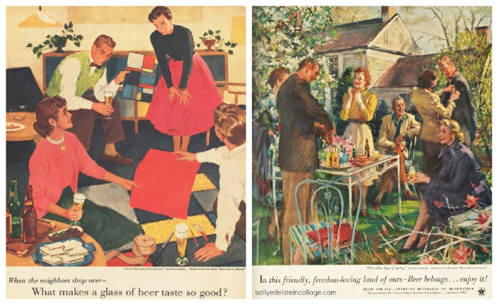 vintage illustration advertising suburbia 1950s