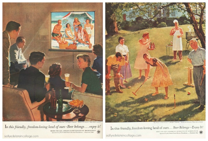 Vintage illustrations suburbia 1950s retro ads