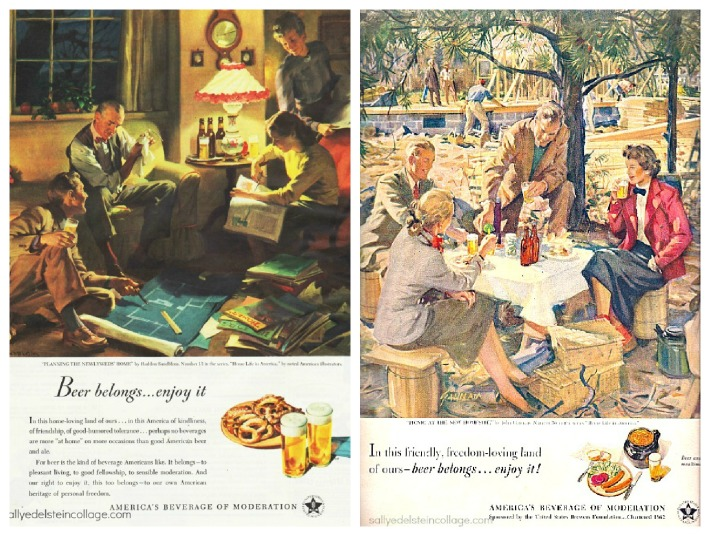 vintage illustration retro beer ads suburbia 1950s