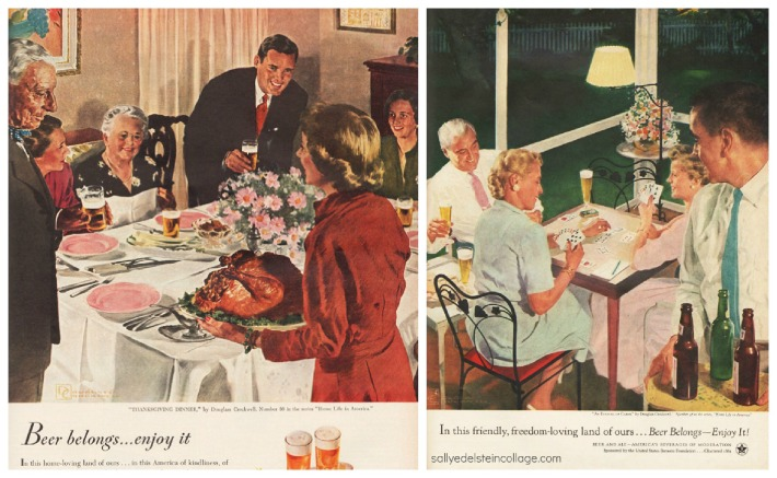 vintage illustrations retro beer ads suburbia thanksgiving 1950s
