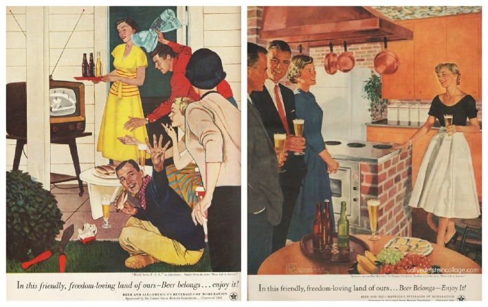 vintage illustrations suburbanites at home 1950s