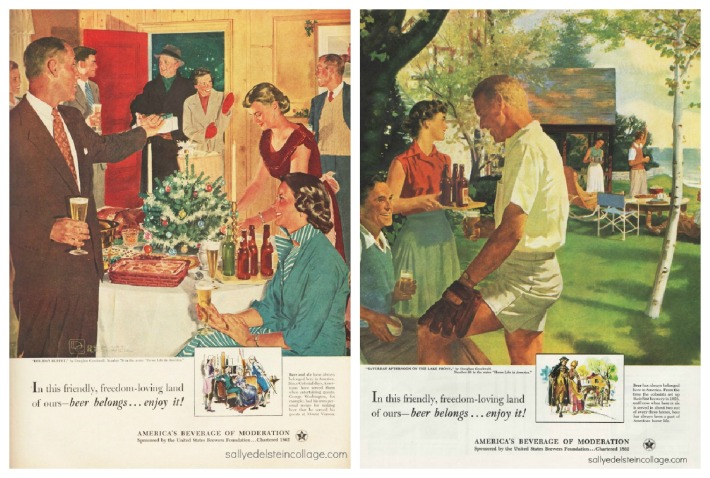 vintage illustrations retro beer ads suburbia 1950s