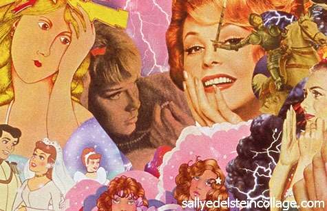 appropriating vintage advertising and illustrations of women from 50's 60's, 7'0s