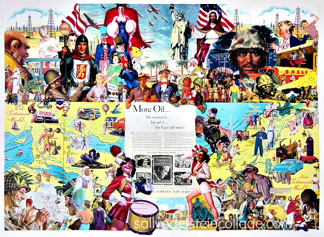 Sally Edelsteins Collage composed of vintage illustratios from 40s, 50s looks at American Crusaders and Middle East Oilt