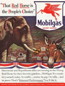 vintage ad Mobil political elephant and donkey at convention