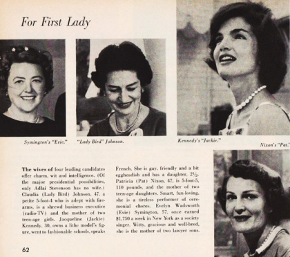 photos of candidates wives 1960 presidential race