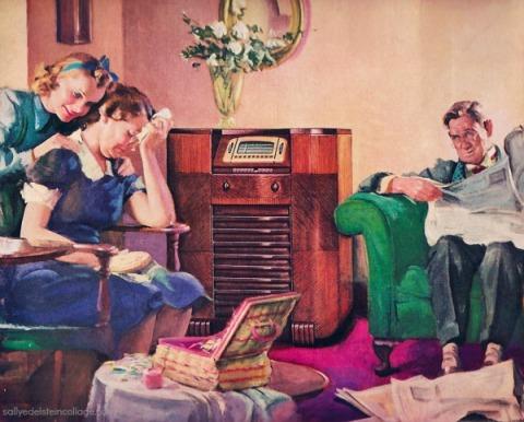 vintage illustration family listening to radio 1940