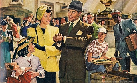 vintage illustration train station travelers