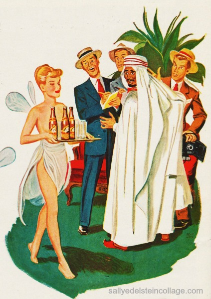 Vintage illustration Arab sheik, White Rock Psyche  and reporters