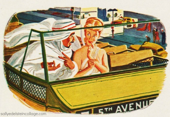 Art & Advertising, vintage illustration NYC bus, sheik, and psyche