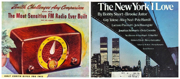 vintage 1940s radio, Brooklyn Bridge and World Tade Center