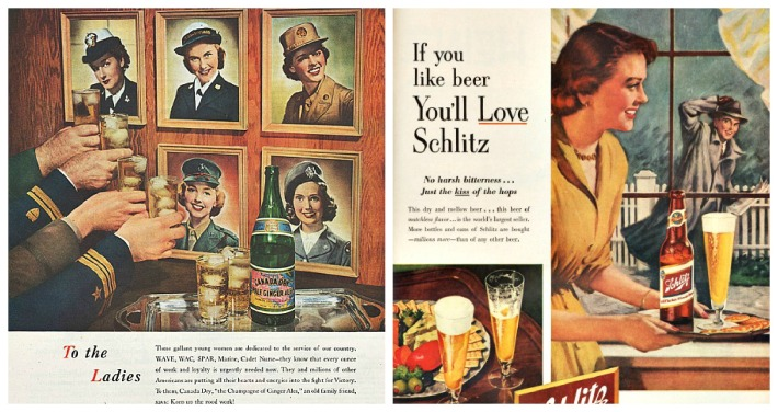 vintage ads WWII women and postwar women