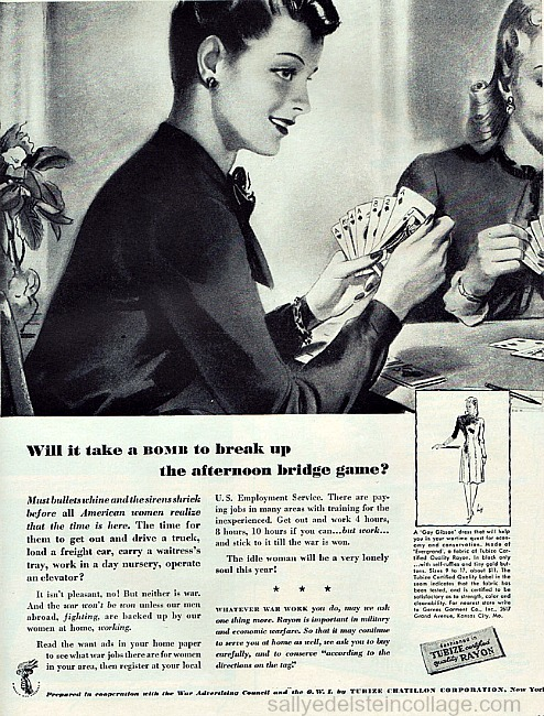 Vintage WWII ad illustration housewfe playing cards