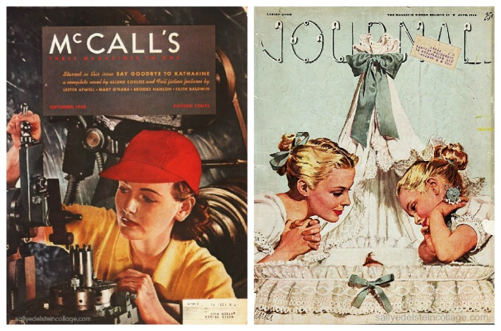 collage magazine covers contrating WWII Women work covers and illustration of mother and child