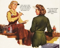 vintage illustration women at war work 1944