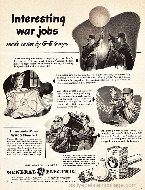 Vintage ad illustrations ww2 women warwork