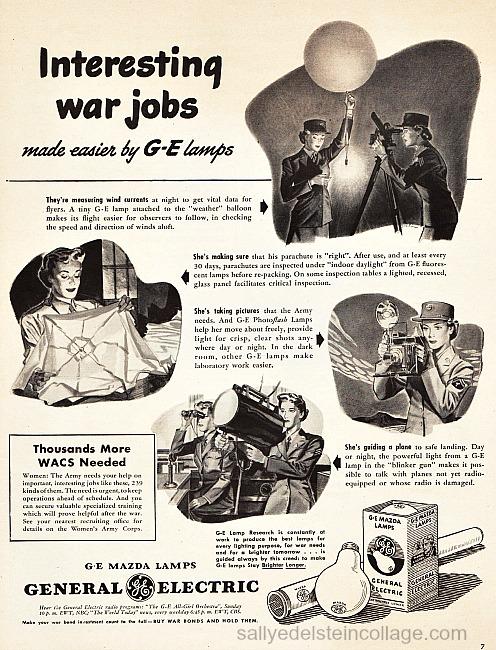 Vintage ad illustrations ww2 women warwork