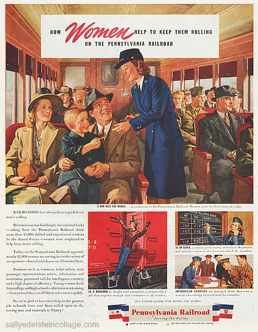 vintage illustration ww2 train passengers