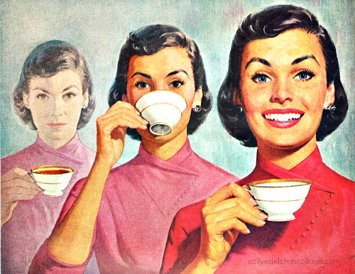 Vintage illustration 1950s housewife drinking coffee