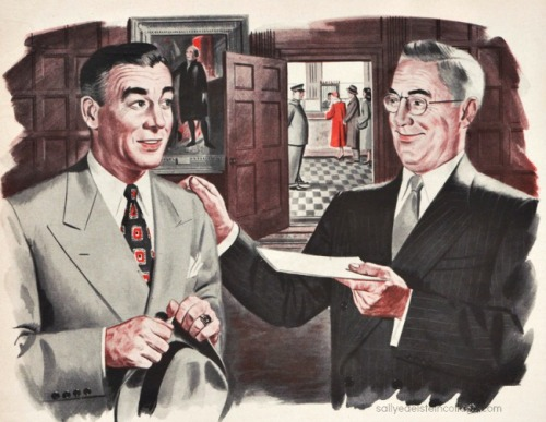 vintage illustration business man handing a check to employee