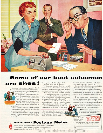 vintage illustration 1950s office