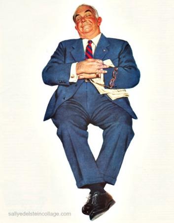 vintage illustration businessman 1950s
