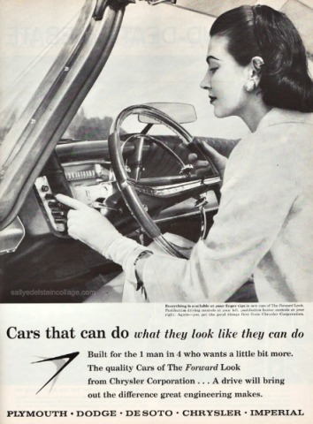 Vintage photo 1950s housewife driving 1950s car