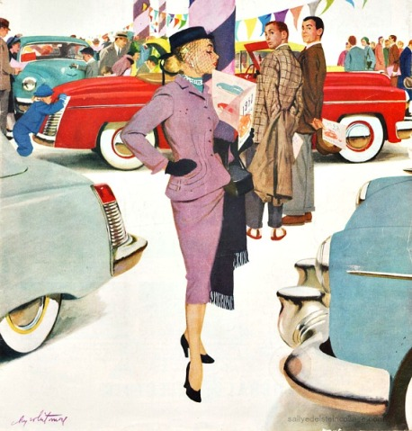 vintage illustration 1950s housewife looking at cars