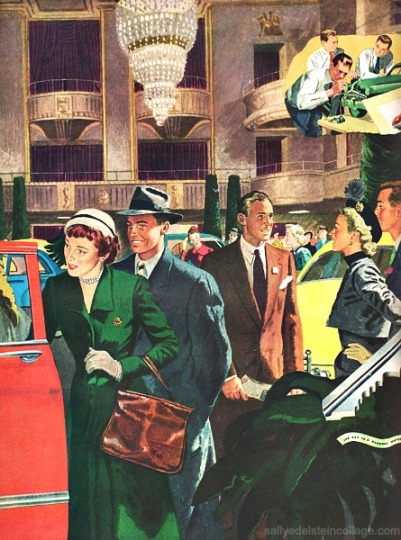 vintage illustration 1950s couples looking at cars