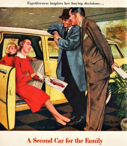 vintage illustration 1950s family buying car