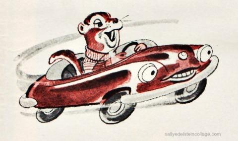 vintage cartoon illustration chipmunks 1950s