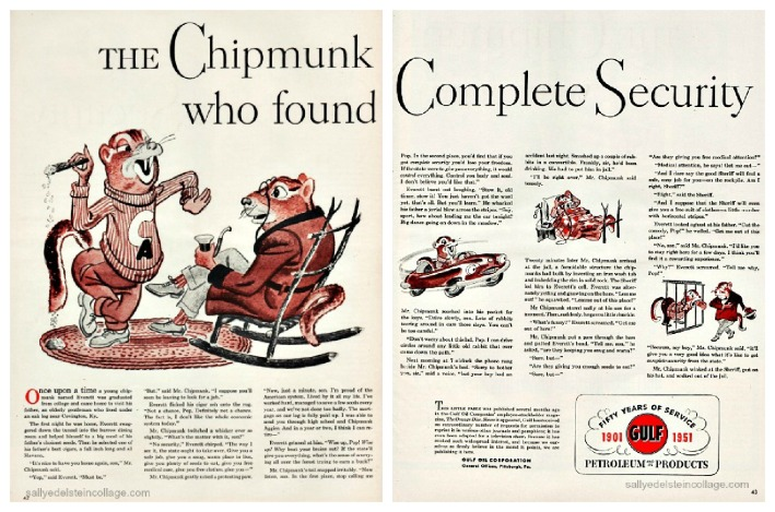 vintage illustration cartoon chipmunks