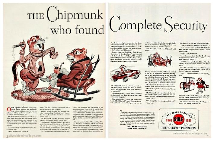 vintage illustration cartoon chipmunks