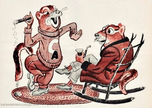 vintage Cartoon illustration chipmunks 1950s
