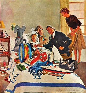Vintage illustration dr visiting sick boy in bed 1960