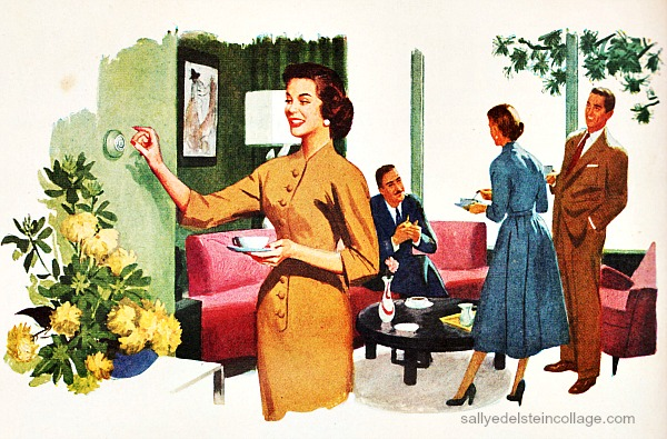 vintage illustration 1950s housewife at home